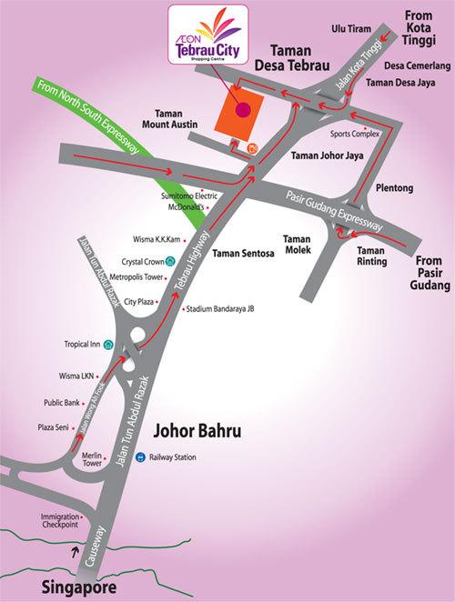 Aeon Tebrau City Shopping Centre Map