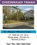 Tanah disewakan Wonorejo