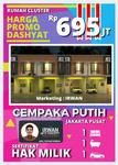 Rumah Cluster CEMPAKA PUTIH Termurah, Rumah Murah 2 Lantai Di Cempaka Putih Jakarta Pusat