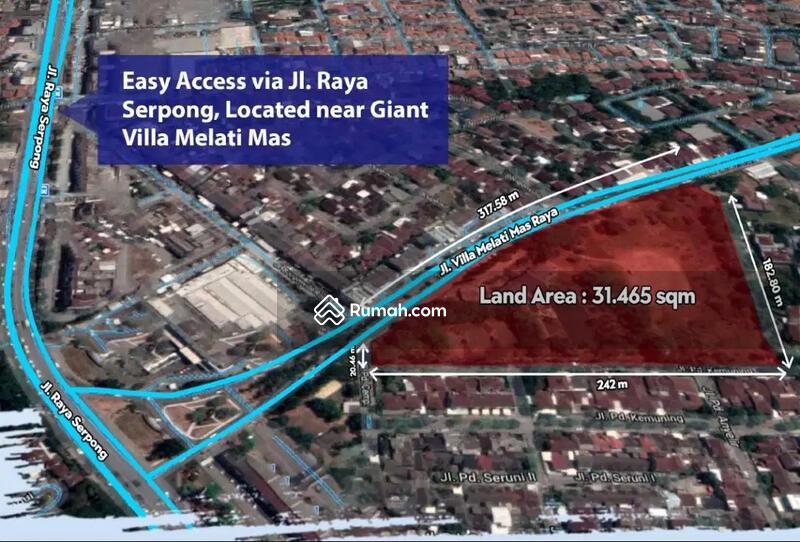 Tanah Komersial 3,1 Ha Prime, Vila Melati Mas Raya, Akses Raya Serpong #102597114
