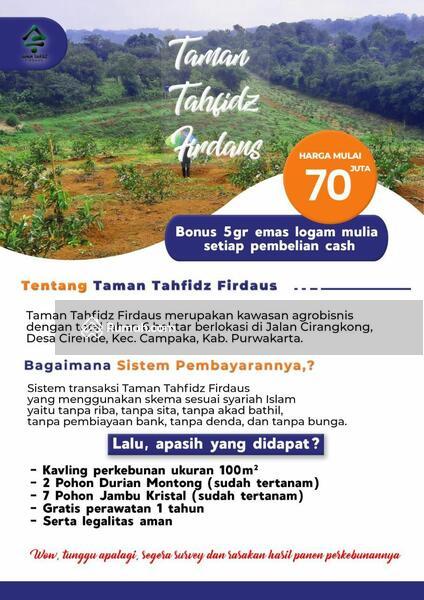 KAVLING TAMAN TAHFIDZ FIRDAUS OTOMATIS BISA WAKAF #105178456