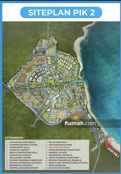 DIJUAL Kavling Bukit Danau Indah PIK2 539m2 Hoek. 23.5jt/m2 Cicilan Panjang Banget !! #106154700