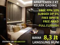 Dijual - Cukup Bayar 8, 3 Jt Siap Huni Tanpa DP Apartemen 2 Bedroom di Kelapa Gading Jakarta Utara