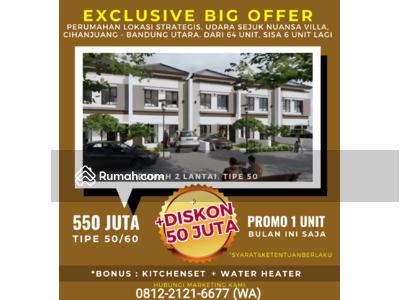 Dijual - DISKON SPESIAL 50JT Rumah 2 Lantai Komplek Nuansa Villa Bandung Utara Cihanjuang