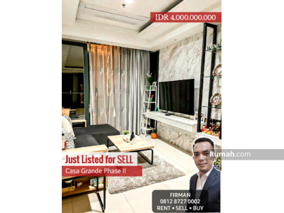 Dijual - Dijual Murah 4 Bedrooms 4 BR Full Furnish Luas 116 sqm Apartemen Casa Grande, Tebet, Jakarta Selatan