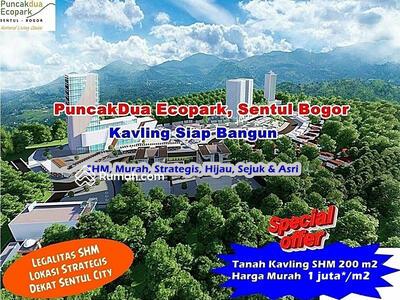 Dijual - Tanah Kavling Siap Bangun SHM Murah di Puncakdua Ecopark Sentul Bogor, Strategis Dekat Sentul City