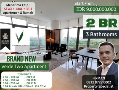 Dijual - Brand New 2 Bedrooms 2 BR Luas 170 & 190 sqm Apartemen Verde Two, Karet, Setiabudi, Jakarta Selatan