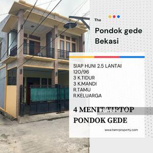 Dijual - Dijual Cepat BU Rumah hook 2. 5 lantai SHM STRATEGIS dekat Tip Top Pondok gede